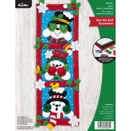 Bucilla ® Seasonal - Felt - Home Decor - See No Evil Snowmen Wall Hanging - 89264E