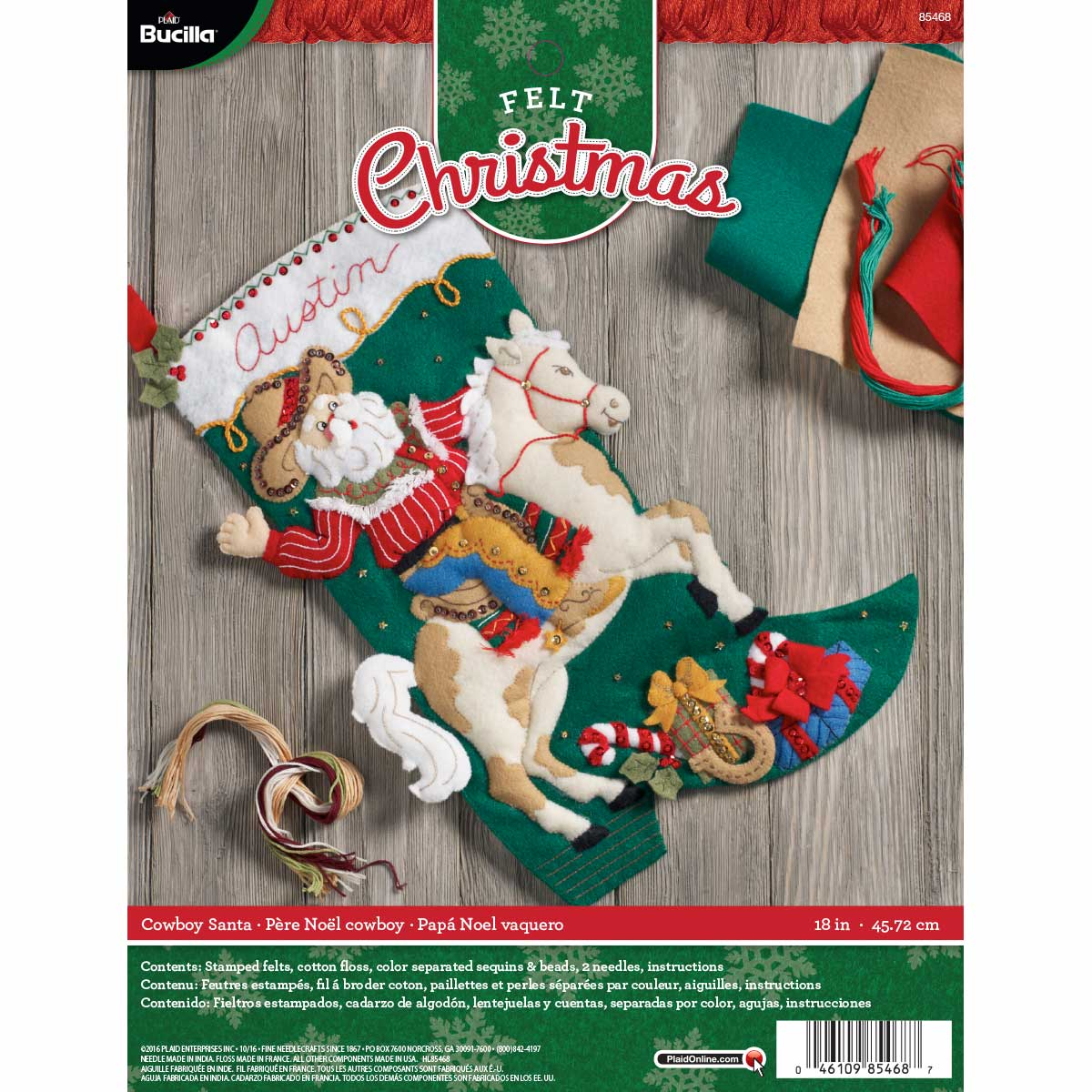 Bucilla ® Seasonal - Felt - Stocking Kits - Cowboy Santa - 85468