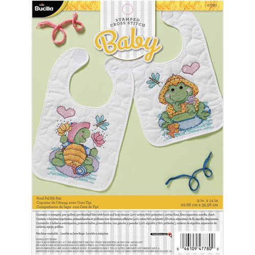 Bucilla ® Baby - Stamped Cross Stitch - Crib Ensembles - Pond Pals - Bib Pair Kit