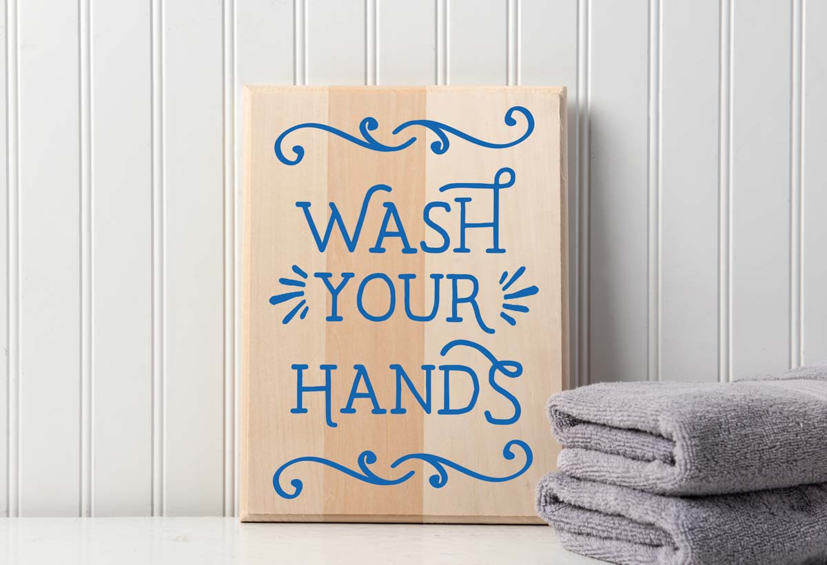 Wash Your Hands Wooden Sign