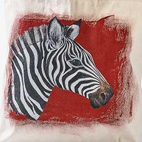 Hand Painted Zebra Tote Bag