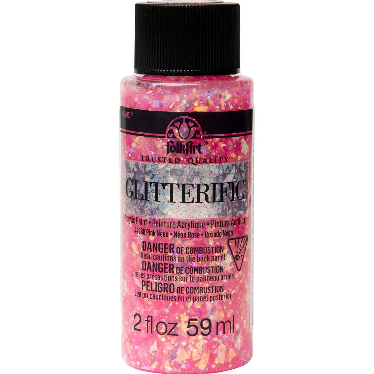 FolkArt ® Glitterific™ Acrylic Paint - Neon Pink, 2 oz.