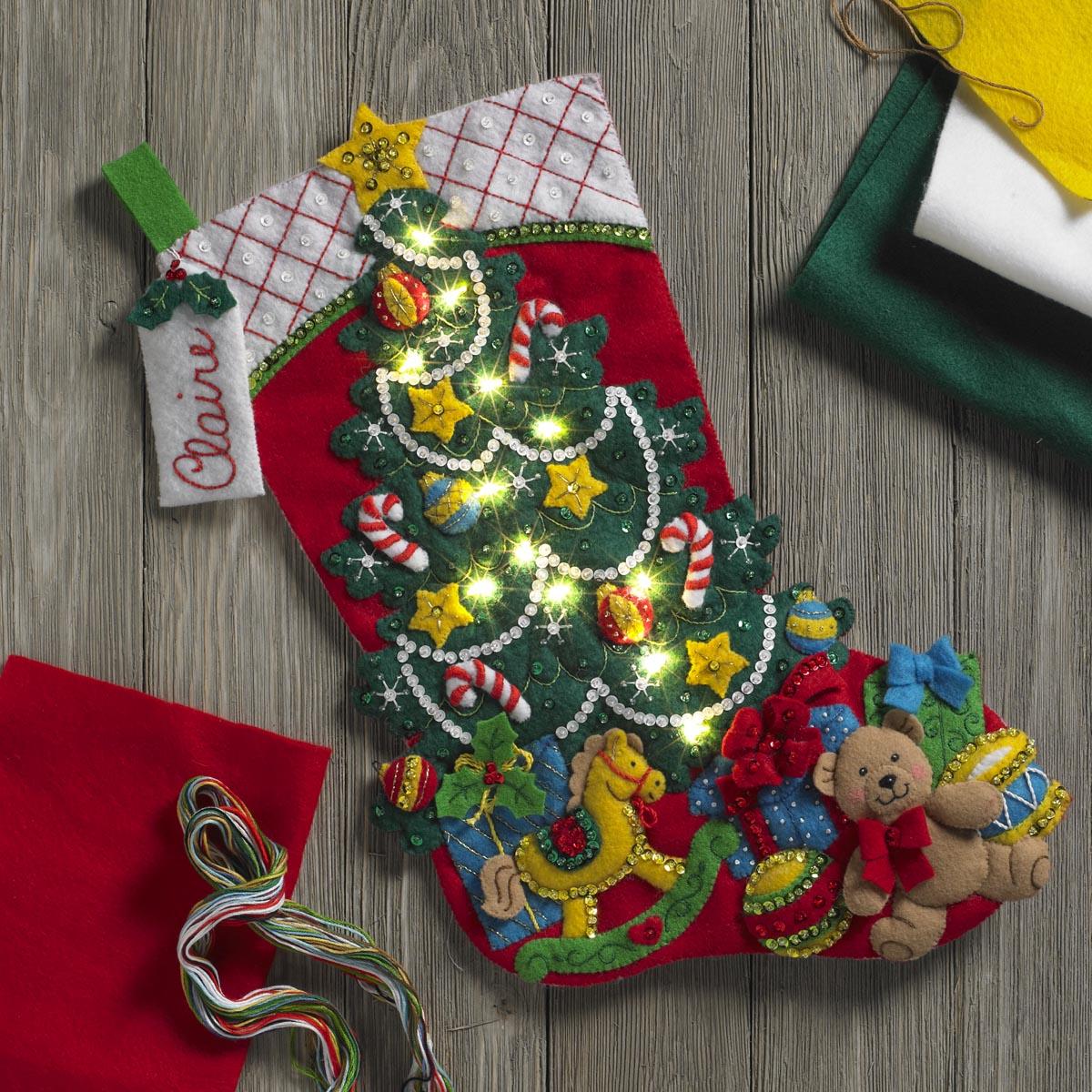 Bucilla ® Seasonal - Felt - Stocking Kits - Christmas Tree Surprise with Lights - 86710
