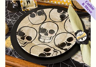 Chalkboard Chargers, Skull Plates and Napkin Ring