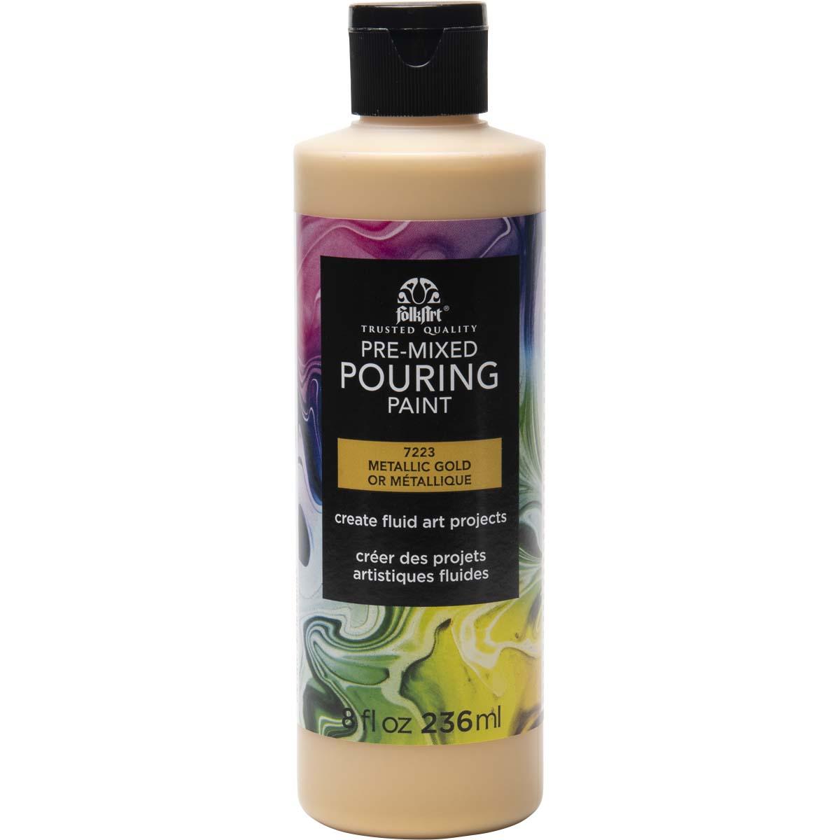 FolkArt ® Pre-mixed Pouring Paint - Metallic Gold, 8 oz. - 7223