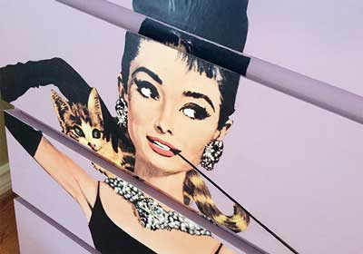 Audrey Hepburn DIY Decoupaged Furniture