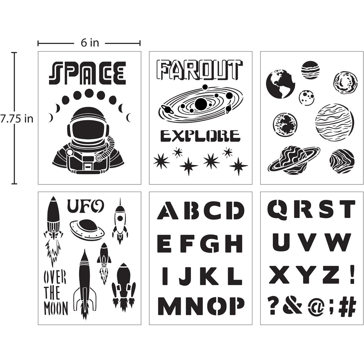 FolkArt ® Stencil Value Packs - Space, 6