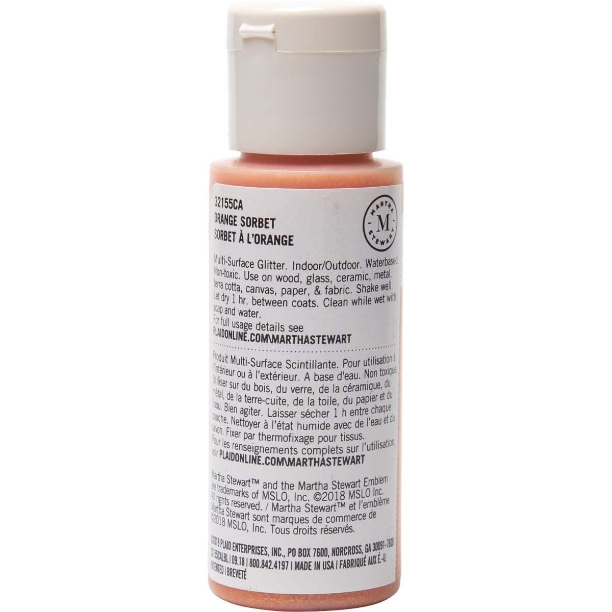 Martha Stewart ® Multi-Surface Glitter Acrylic Craft Paint - Orange Sorbet, 2 oz. - 32155CA
