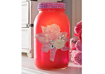 Sheer Colors Mason Jar Vase for Valentine's Day