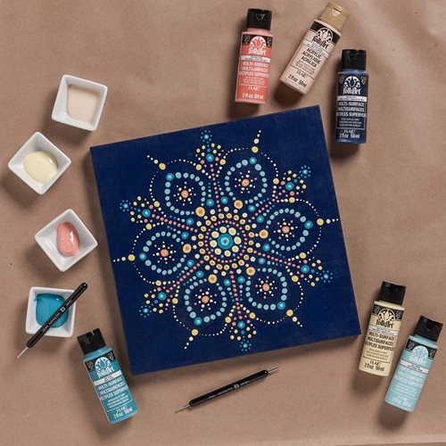 Mandala on Blue Canvas - DIY Wall Art