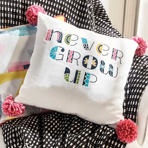 """Never Grow Up"" Painted Throw Pillow"