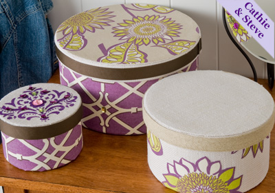 Fabric Covered and Stenciled Hat Boxes