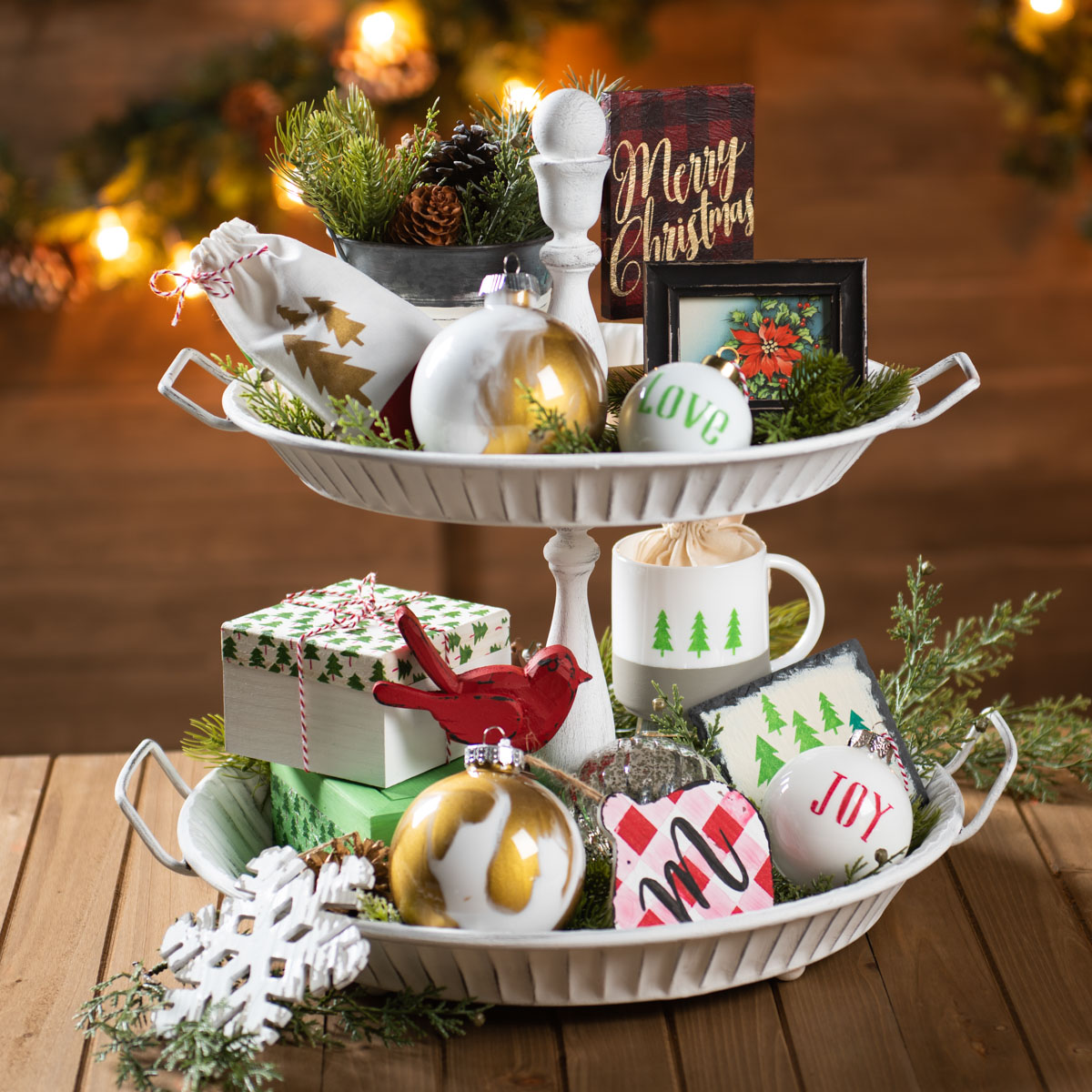 Holiday Tiered Tray Centerpiece