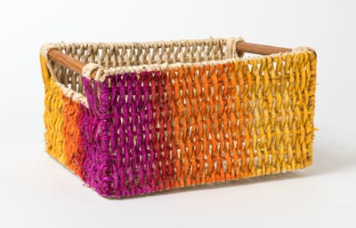 Natural Woven Basket with Blended Color Ombre