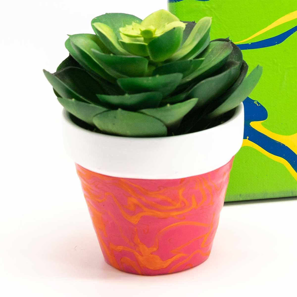 Poured Acrylic Art Flower Pot