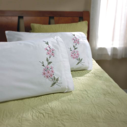 Bucilla ® Stamped Cross Stitch & Embroidery - Pillowcase Pairs - Dogwood Branch