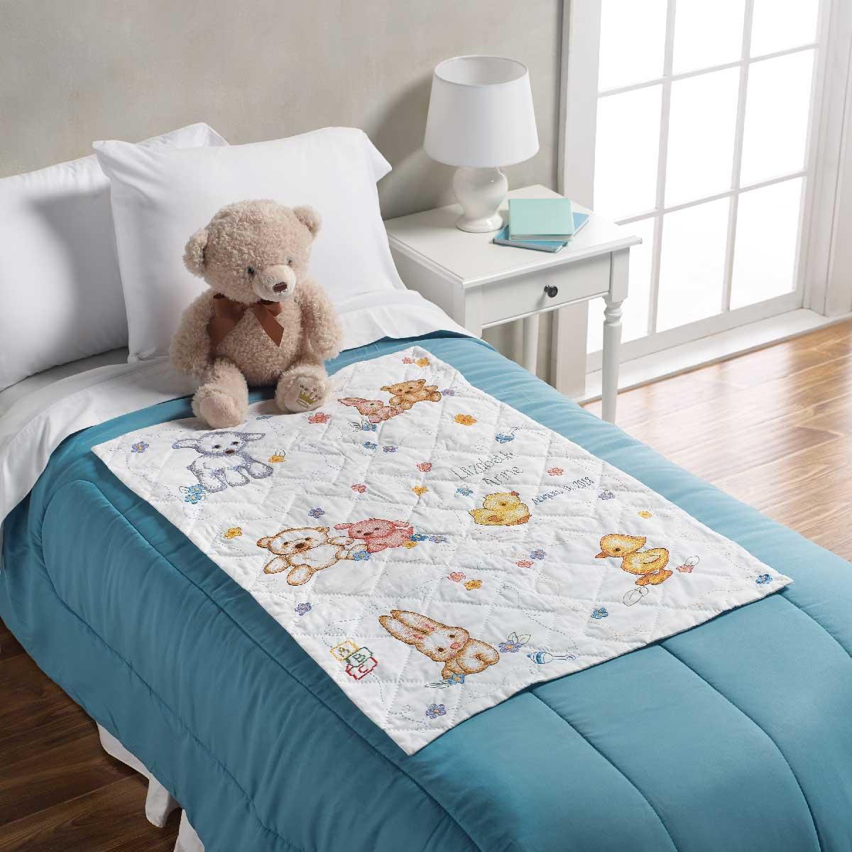Bucilla ® Baby - Stamped Cross Stitch - Crib Ensembles - Hallmark - Playful Pals - Quilt Blocks