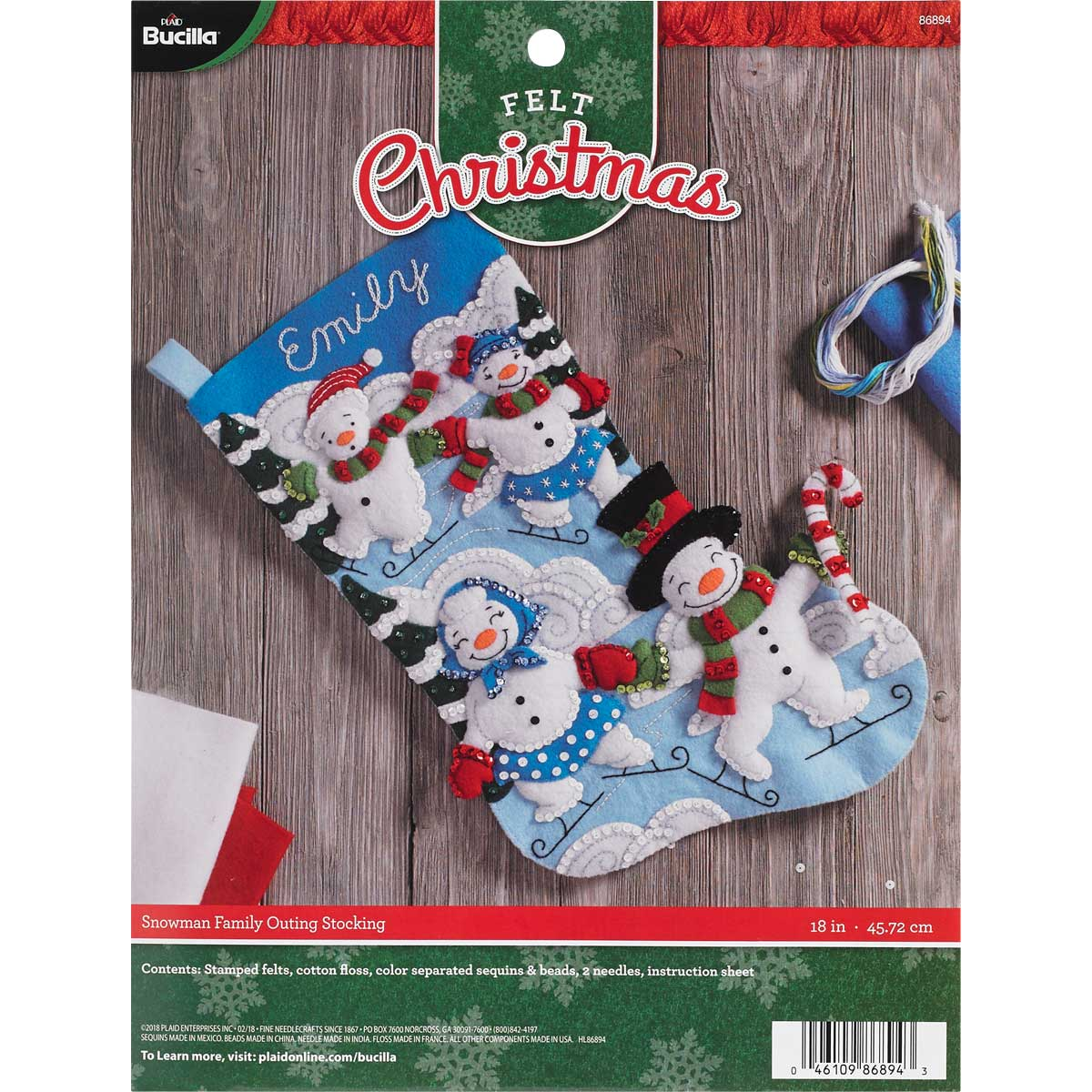 Bucilla ® Seasonal - Felt - Stocking Kits - Snowman Family Outing