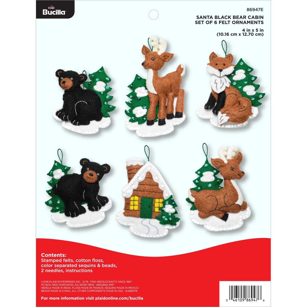 Bucilla ® Seasonal - Felt - Ornament Kits - Santa's Black Bear Cabin - 86947E