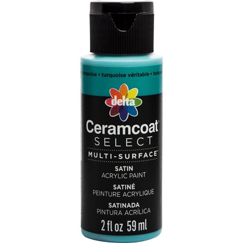 Delta Ceramcoat ® Select Multi-Surface Acrylic Paint - Satin - True Turquoise, 2 oz.