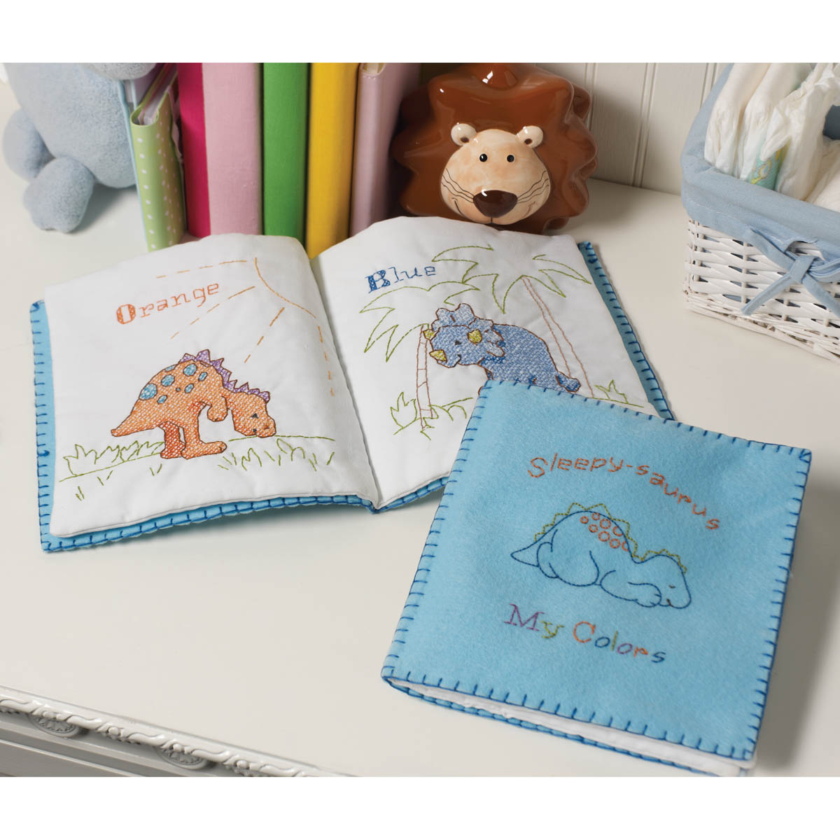 Bucilla ® Baby - Stamped Cross Stitch - Crib Ensembles - Cute-A-Saurus - Quiet Book