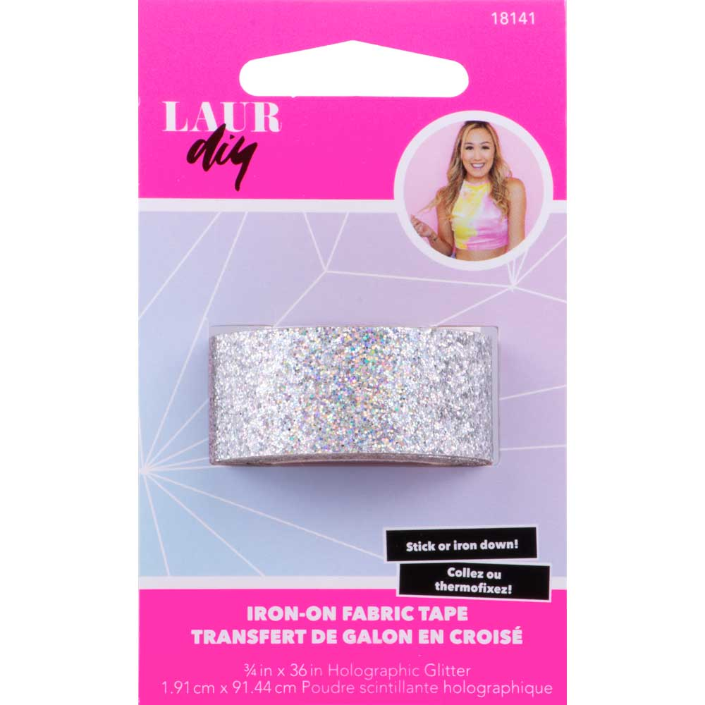 LaurDIY ® Iron-on Fabric Tape - Holographic Glitter