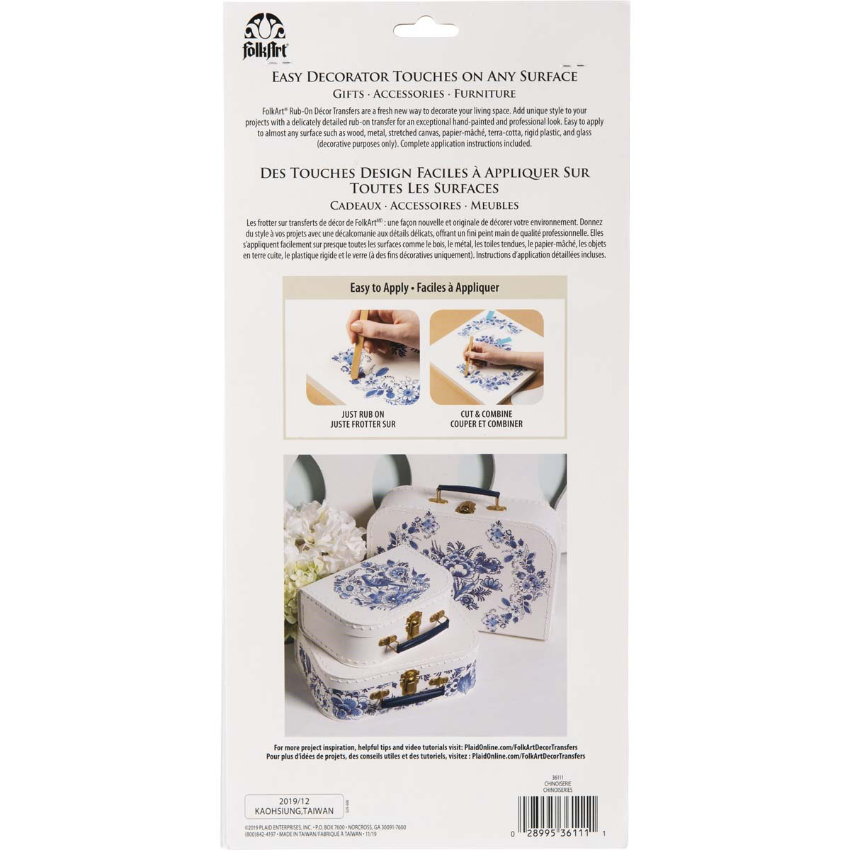 FolkArt ® Rub-On Décor Transfer - Chinoiserie, 3 pc. - 36111