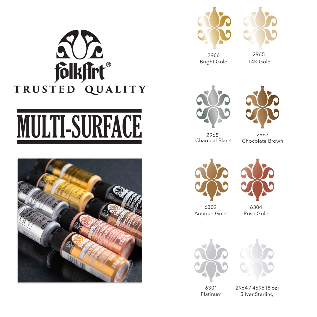 FolkArt ® Multi-Surface Metallic Acrylic Paint 8 Color Set - PROMOFAMET