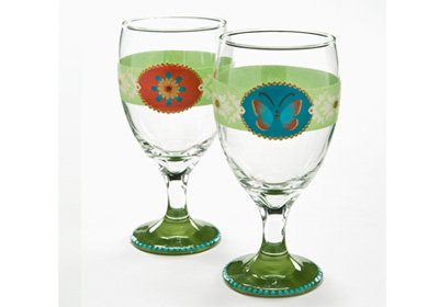 Butterfly and Flower Stemware