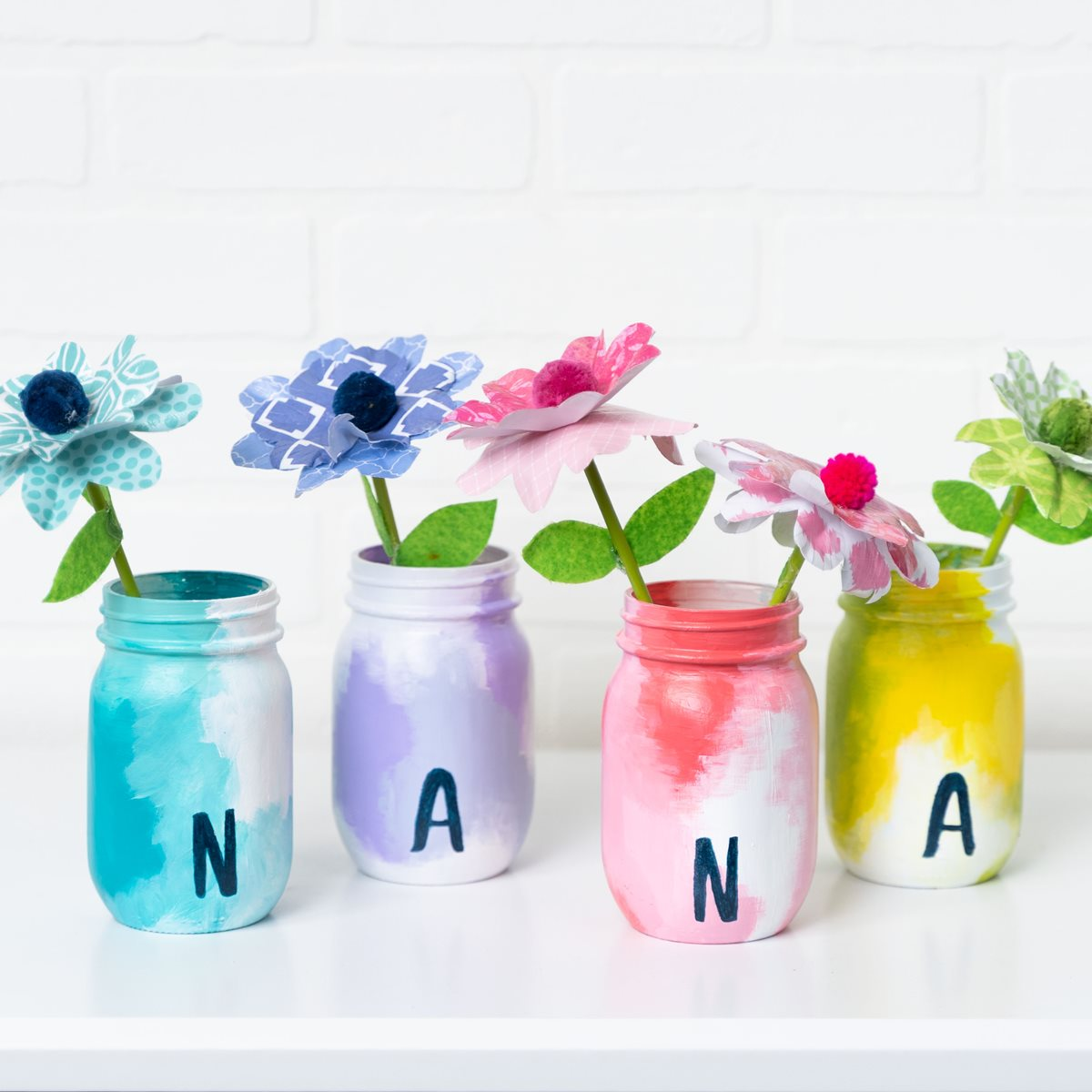 Mother's Day Mason Jars and Paper Flowers for Nana