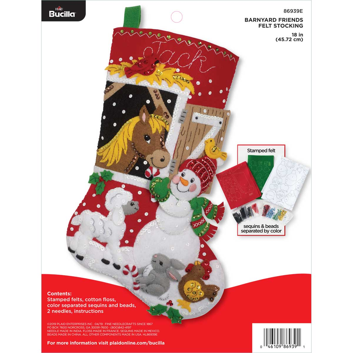 Bucilla ® Seasonal - Felt - Stocking Kits - Barnyard Friends - 86939E