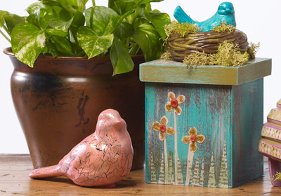 Vintage Inspired Crackle Bird and Box