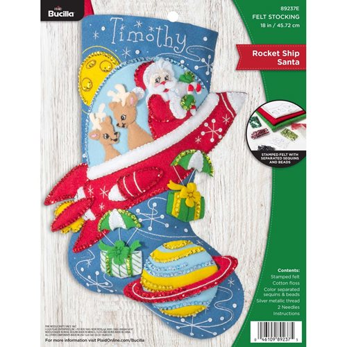 Bucilla ® Seasonal - Felt - Stocking Kits - Rocket Ship Santa - 89237E