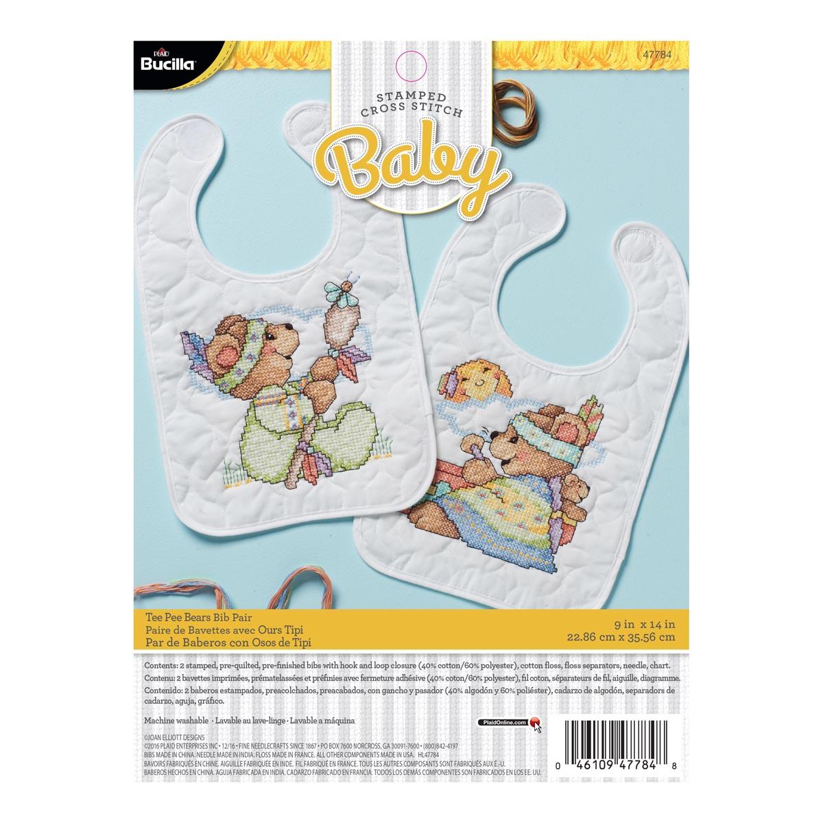 Bucilla ® Baby - Stamped Cross Stitch - Crib Ensembles - Tee Pee Bears Bib Pair Kit - 47784