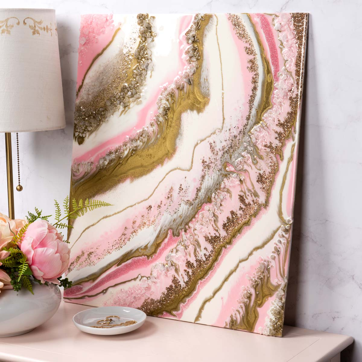 Pink Geode Pouring Canvases