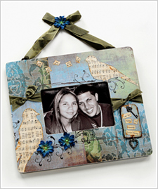 Whimsical 'Love Birds' Collage Frame