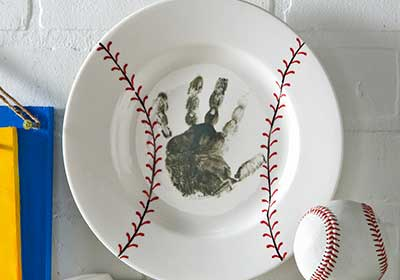 Father's Day Baseball Handprint Plate