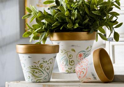 Shabby Paisley Clay Pots