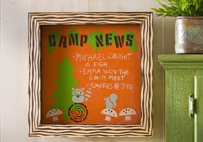 Handmade Charlotte Camp News Chalkboard Shadow Box