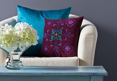 Jewel Tone Stenciled Pillow