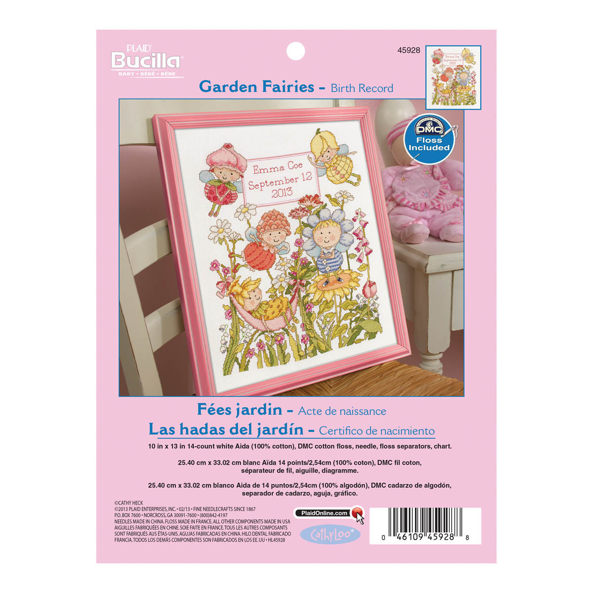 Bucilla ® Baby - Counted Cross Stitch - Crib Ensembles - Garden Fairies - Birth Record Kit