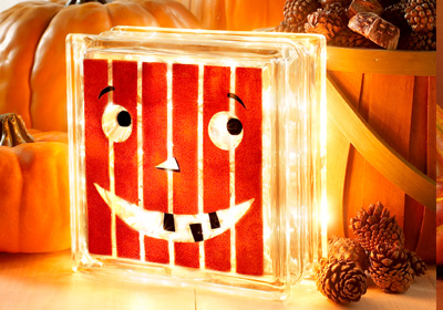 Happy Pumpkin Glass Block