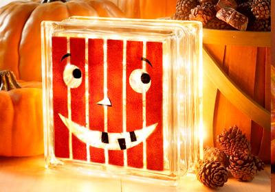 Happy Pumpkin Glass Block