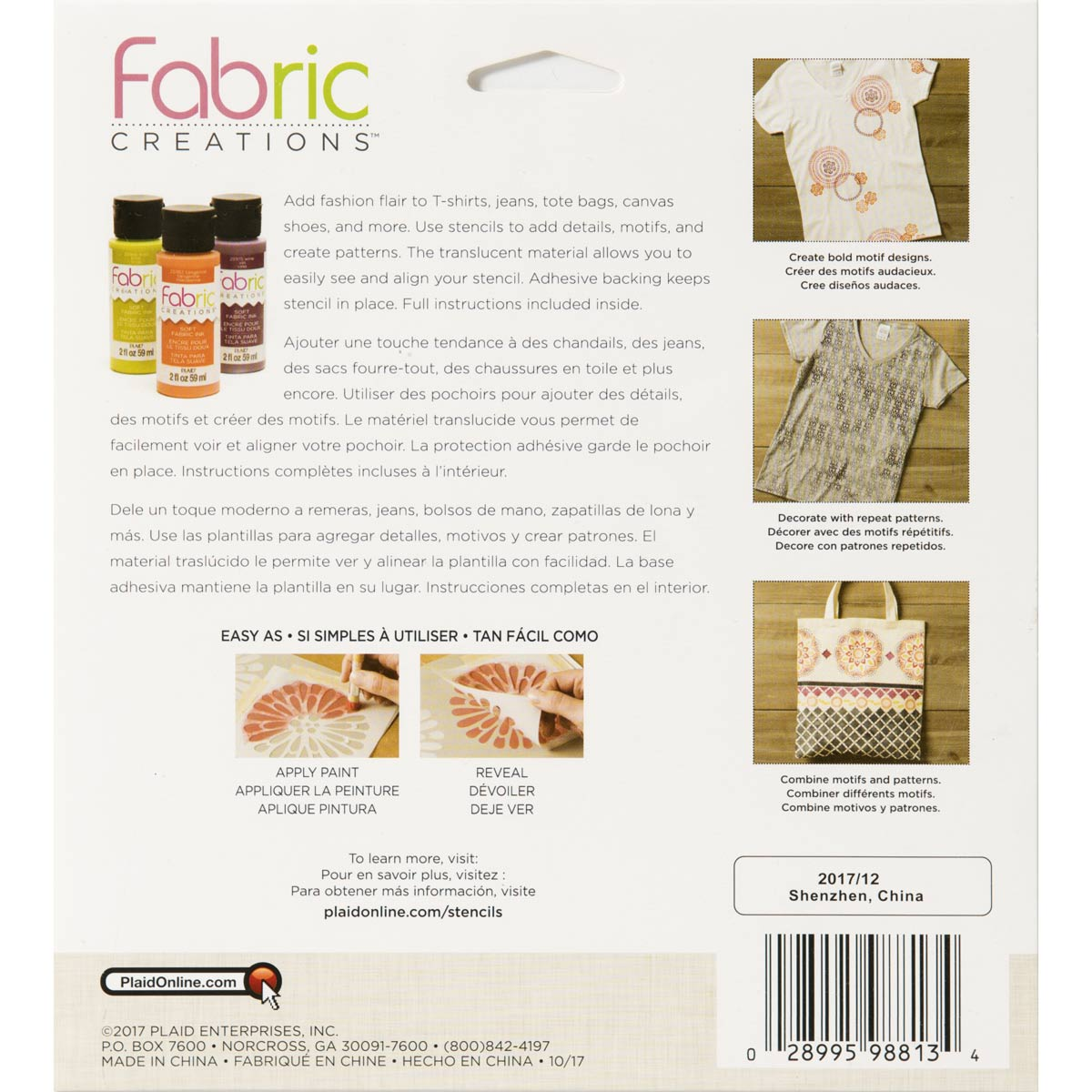 Fabric Creations™ Adhesive Stencils - Boho Flower, 6