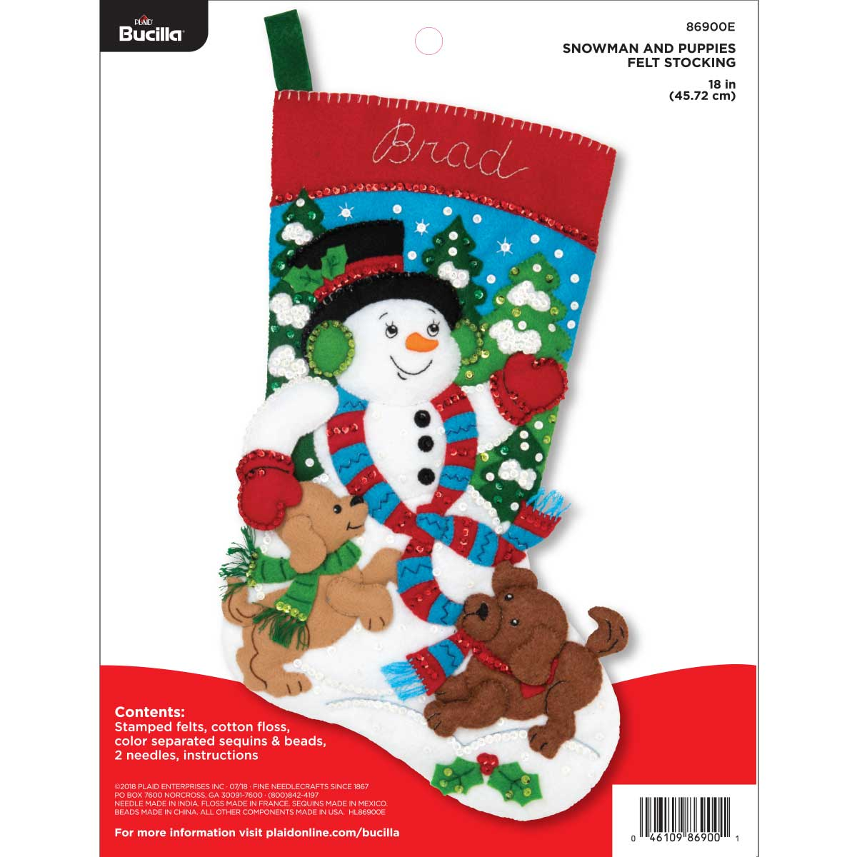 Bucilla ® Seasonal - Felt - Stocking Kits - Snowman and Puppies