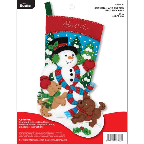 Bucilla ® Seasonal - Felt - Stocking Kits - Snowman and Puppies - 86900E