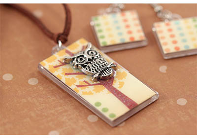 Mod Podge Fall Owl Necklace and Earrings
