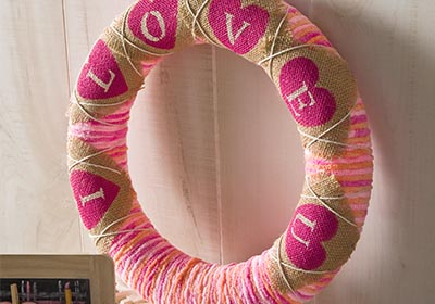 I LOVE U Yarn and Burlap Wreath