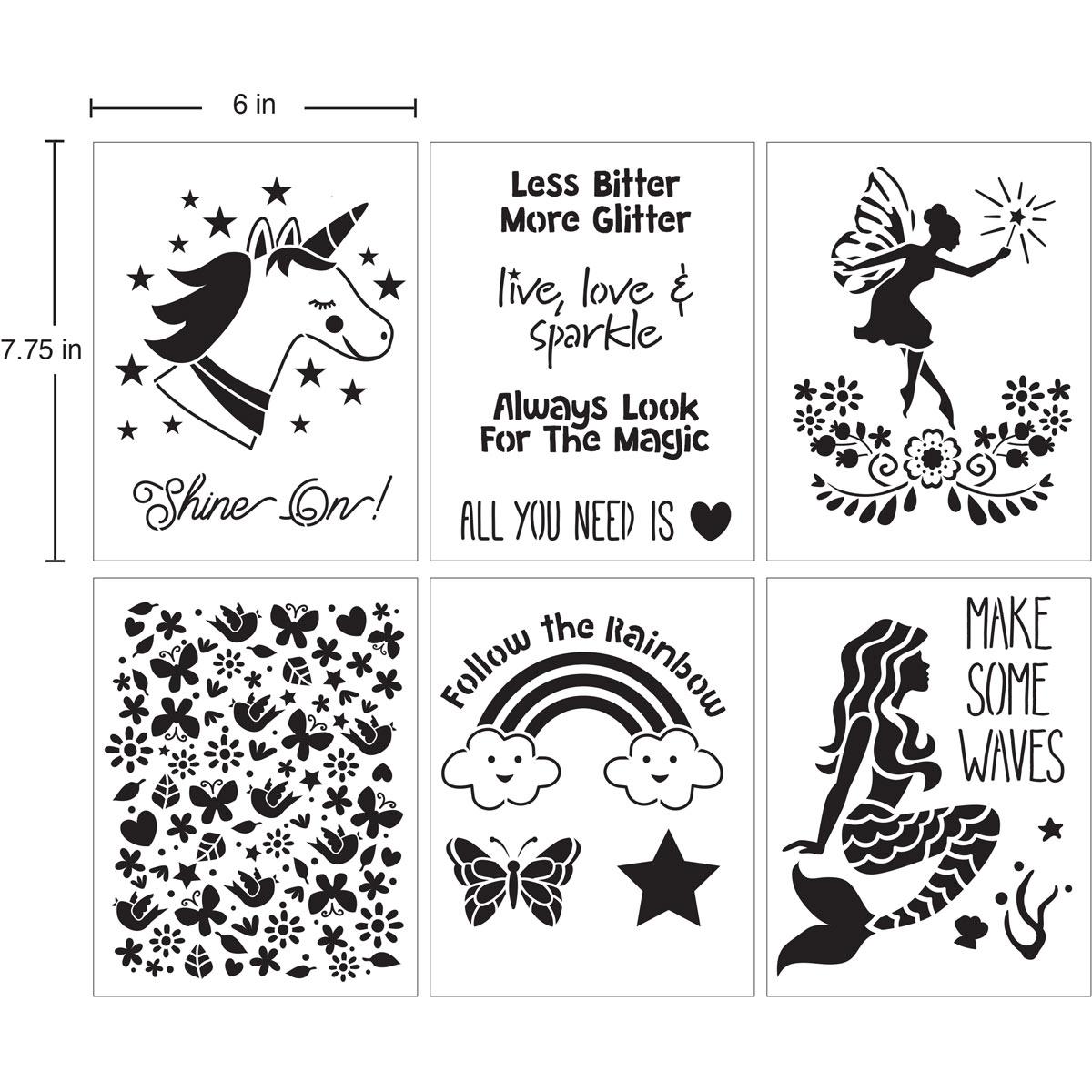FolkArt ® Craft Stencils - Value Packs - Fantasy - 71976