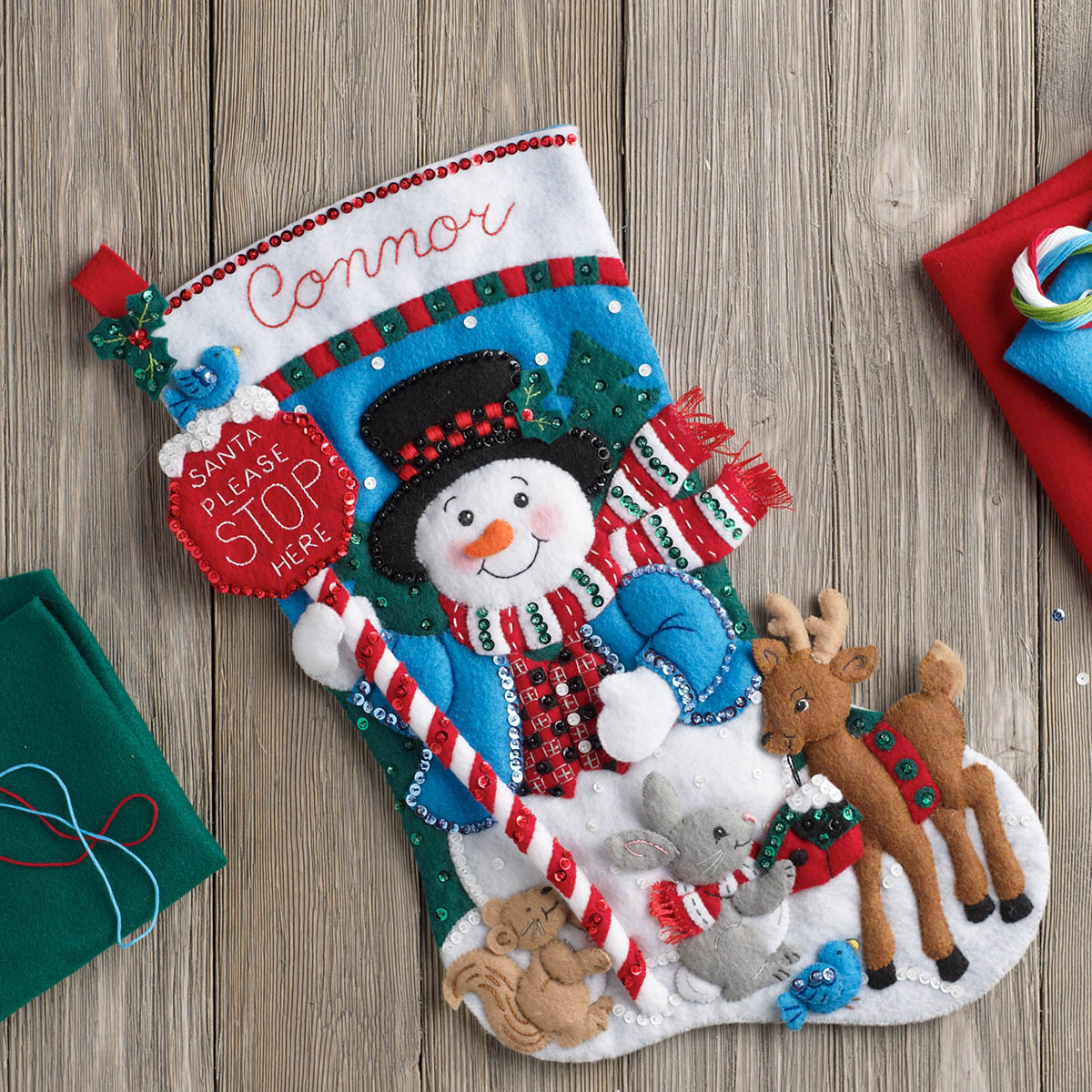 Bucilla ® Seasonal - Felt - Stocking Kits - Santa Stop Here - 86707